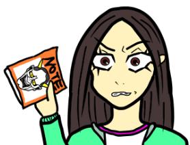 怒った顔、しかめっ面、女、般若、ノート